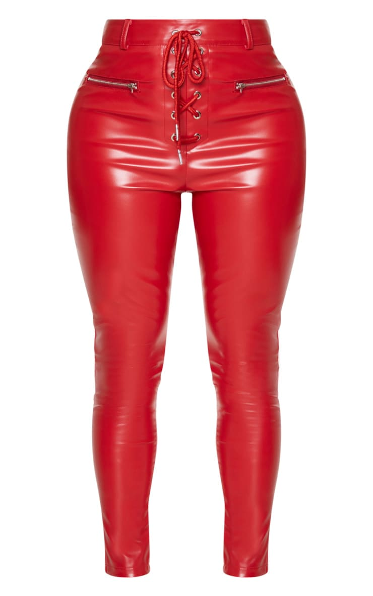 Shape Red PU Laced Up Skinny Trousers 3