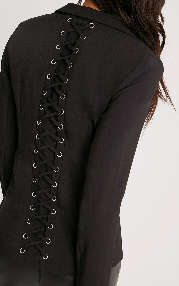 Abigale Black Laced Up Detail Blazer 5