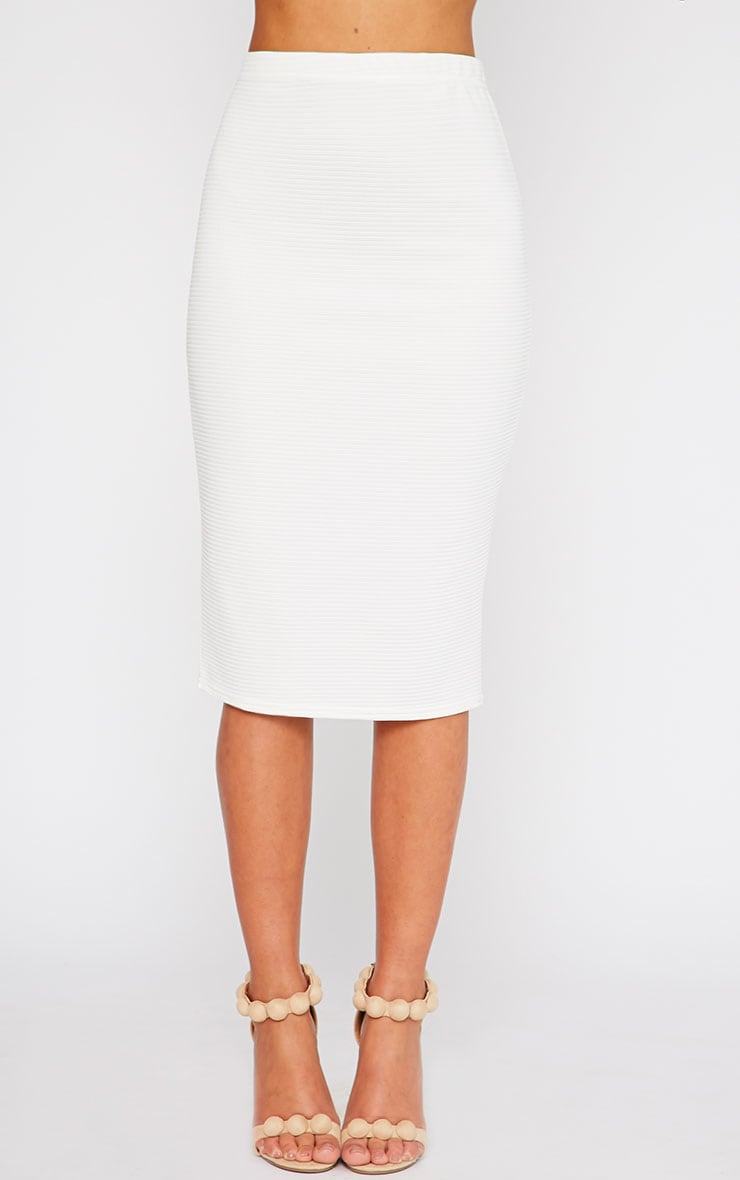 Britney Cream Ribbed Midi Skirt 2