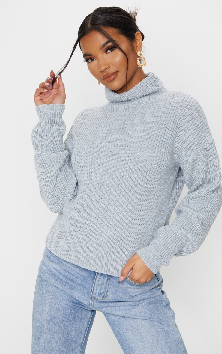 Grey High Neck Sweater 1