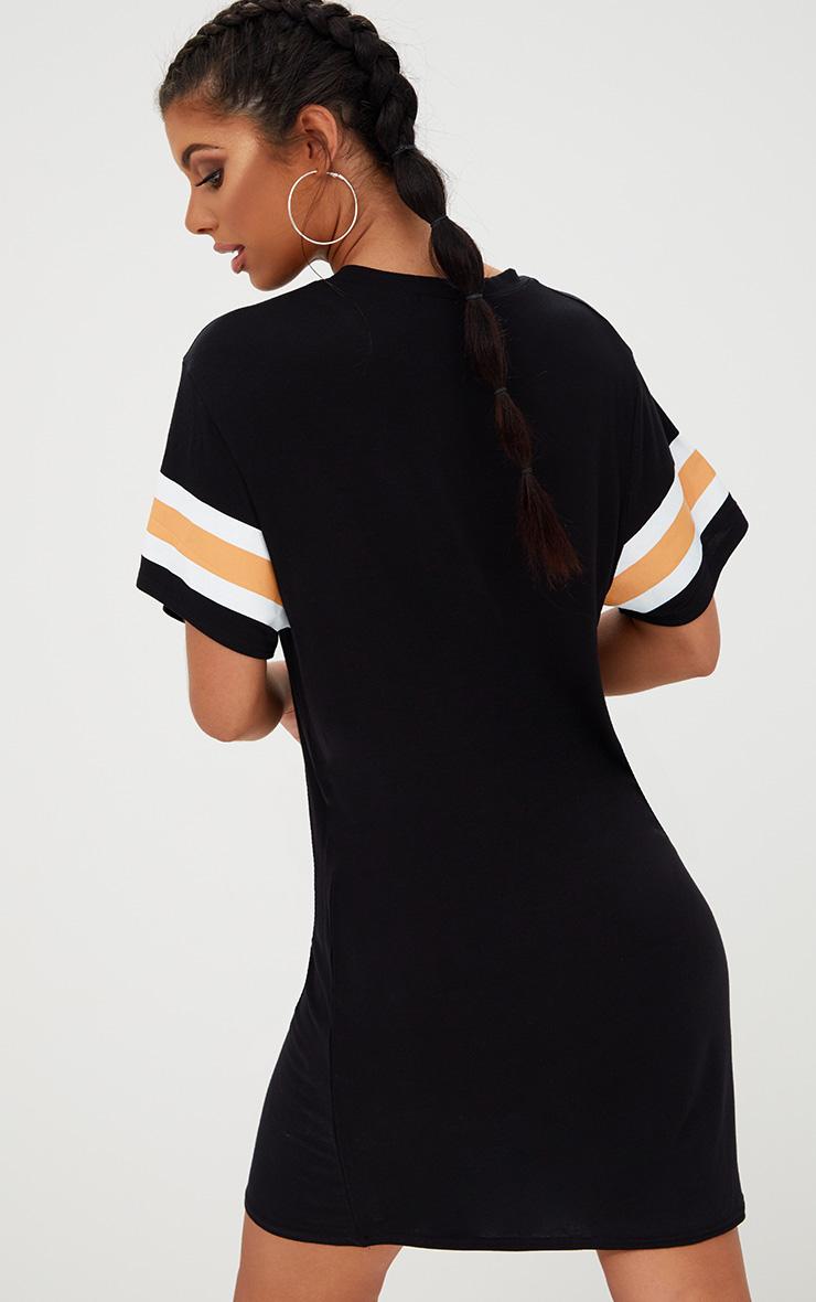 Black Triple Banded T Shirt Dress 2