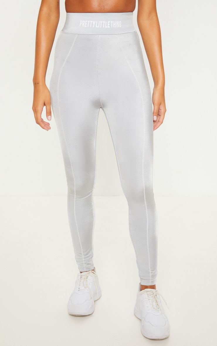 PRETTYLITTLETHING Grey High Waisted Sports Legging 3