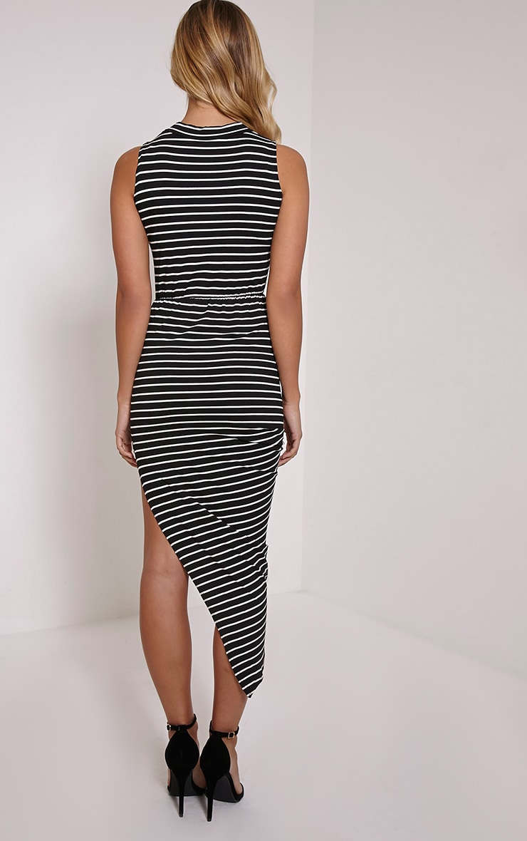 Mireya Black Striped Asymmetric Draped Dress 2