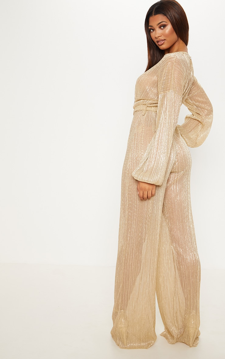 Tall Gold Metallic Sheer Pleated Tie Waist Jumpsuit 2