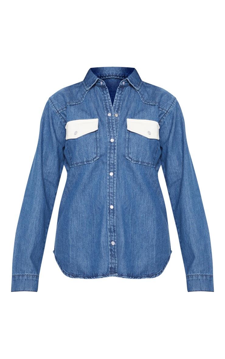 Mid Wash Contrast Cord Pocket Denim Shirt 3