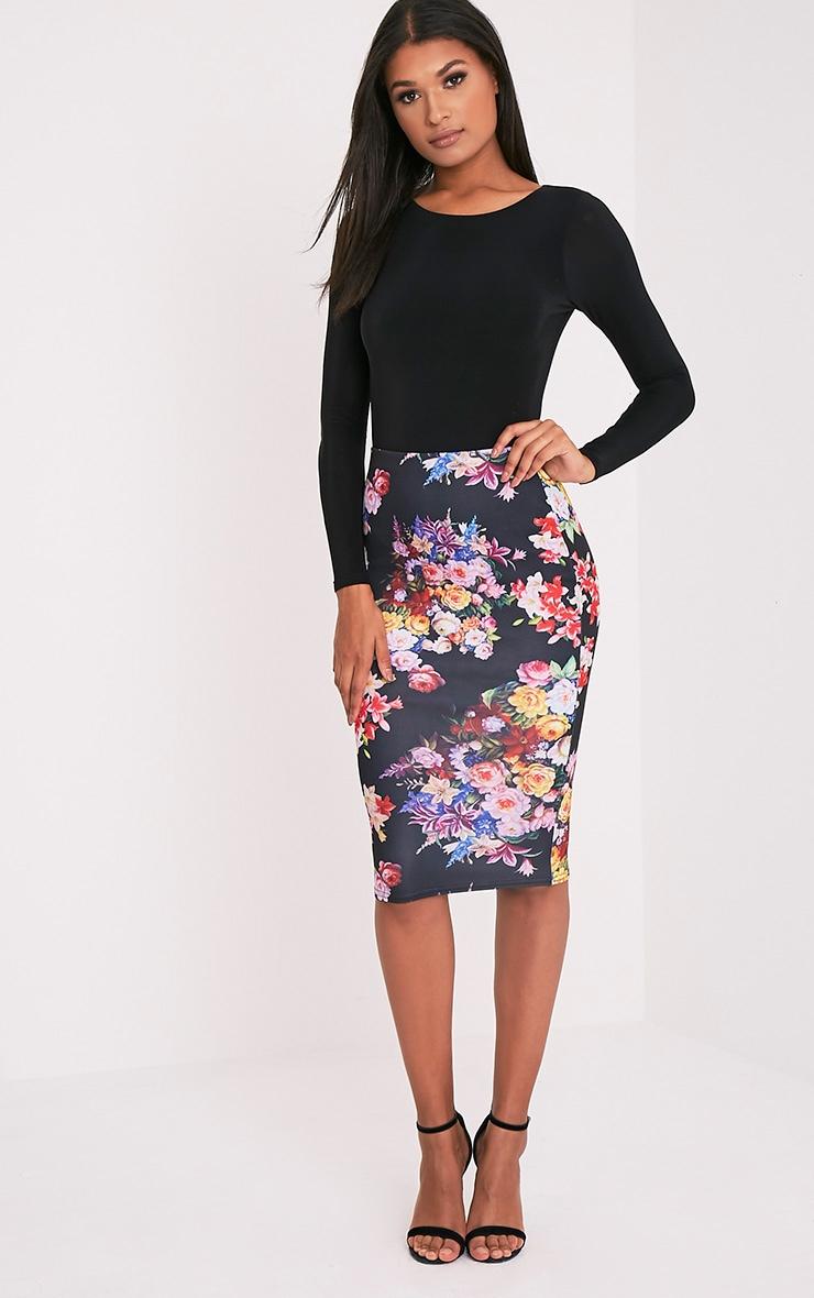 Tula Black Floral Midi Skirt 1