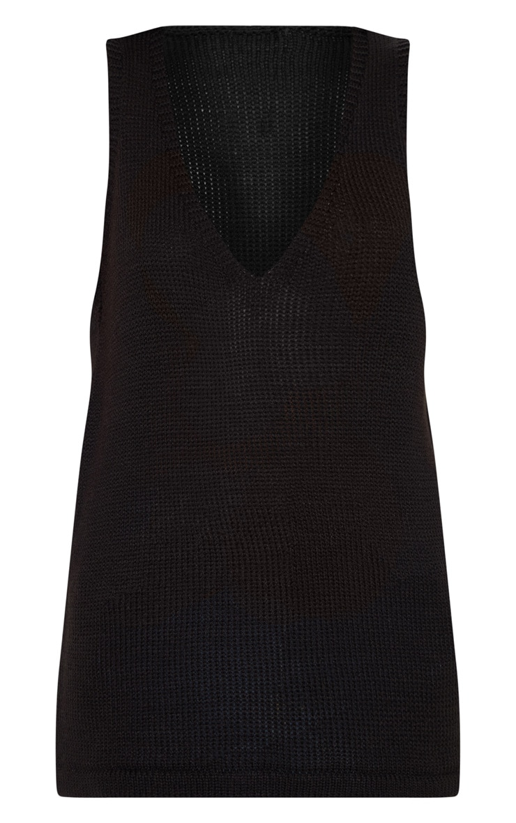 Black V Neck Sleeveless Knit  3
