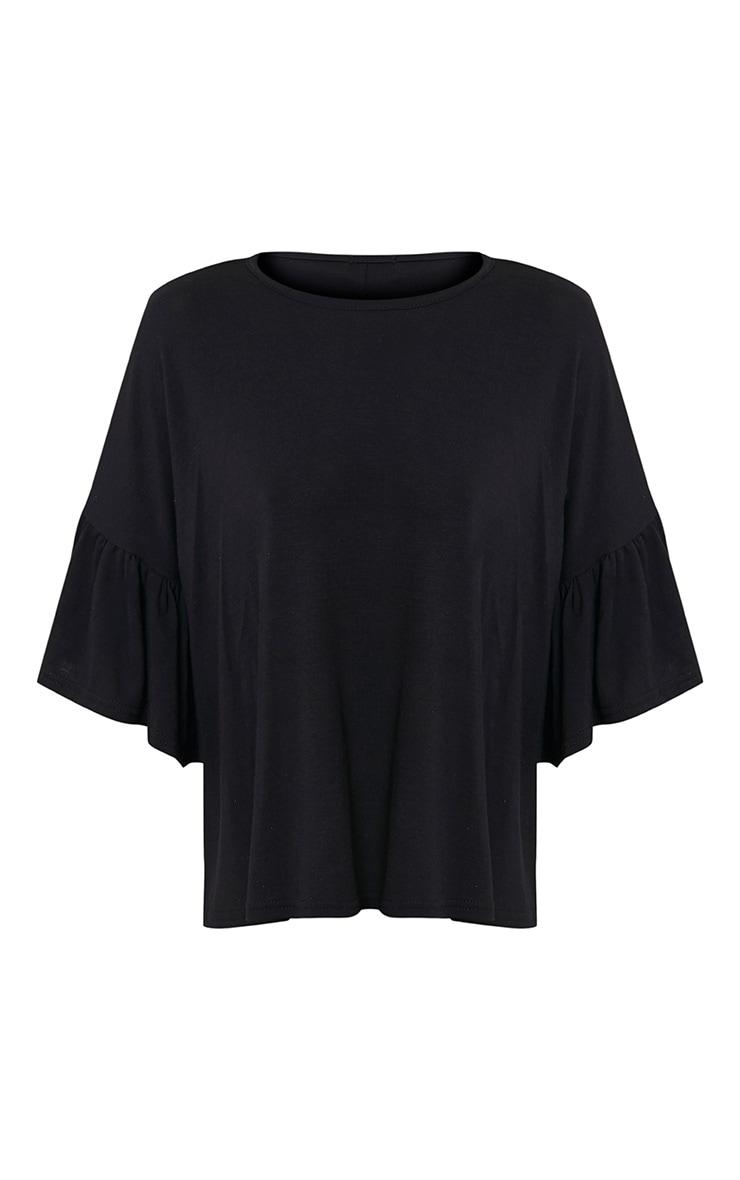 Adnie Black Frill Sleeve T Shirt  3
