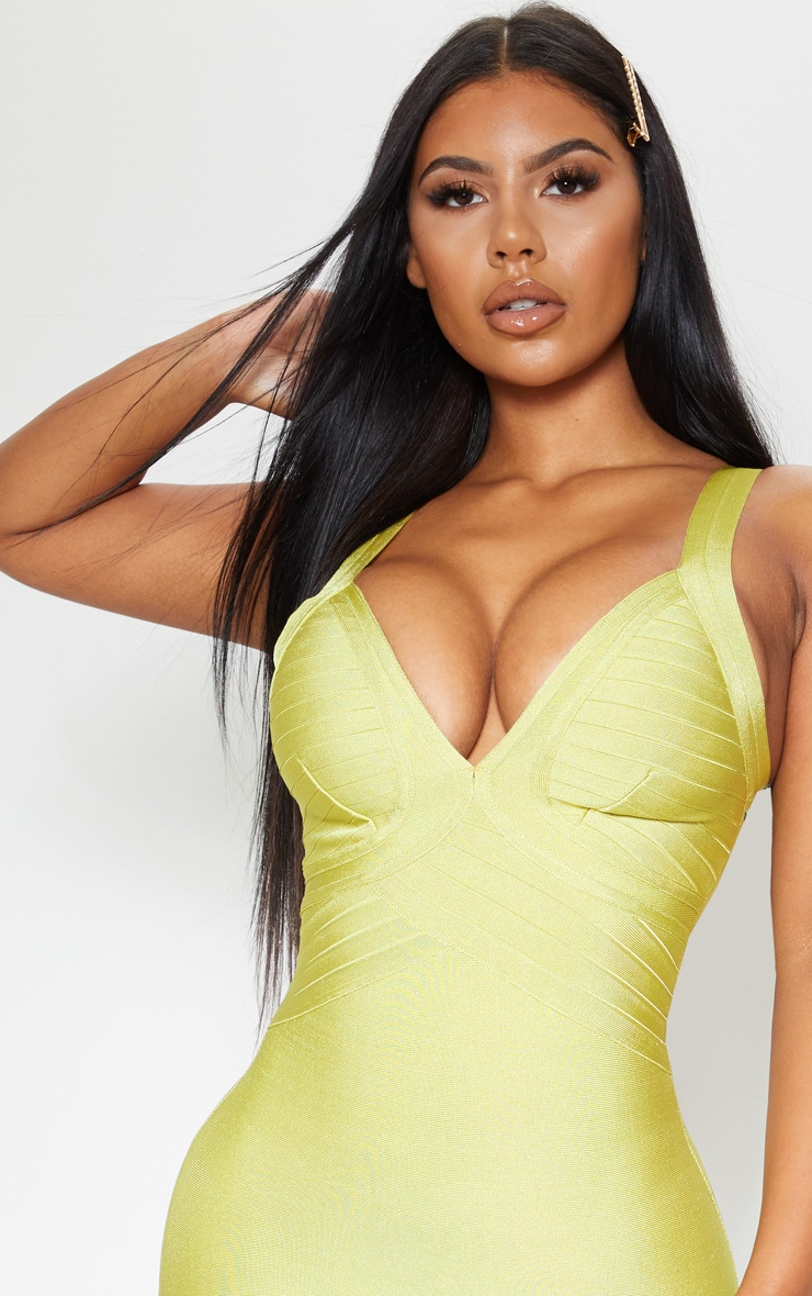 Lime Bandage Lined Cup Detail Bodycon Dress 4