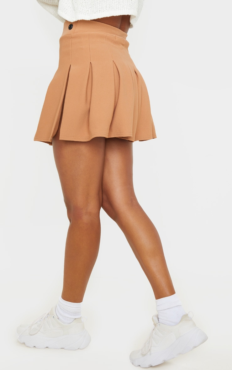 Camel Pleated Side Split Tennis Skirt 4
