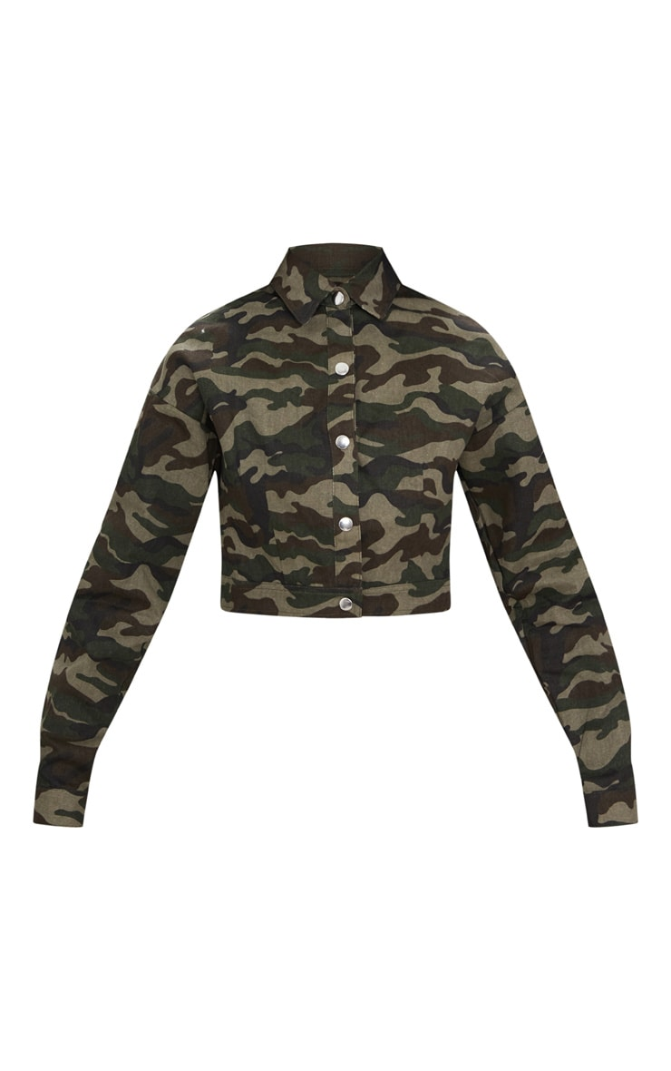 Green Cropped Camo Trucker Jacket 3