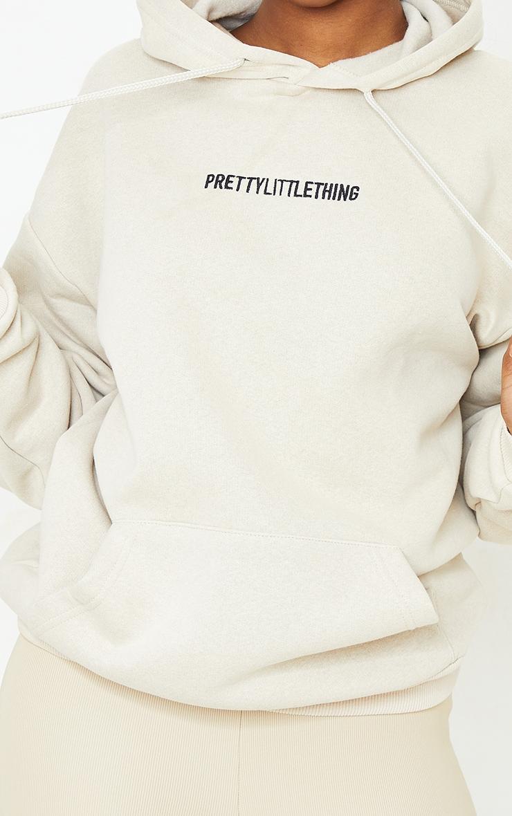 PRETTYLITTLETHING Sand Embroidered Slogan Pocket Hoodie 4