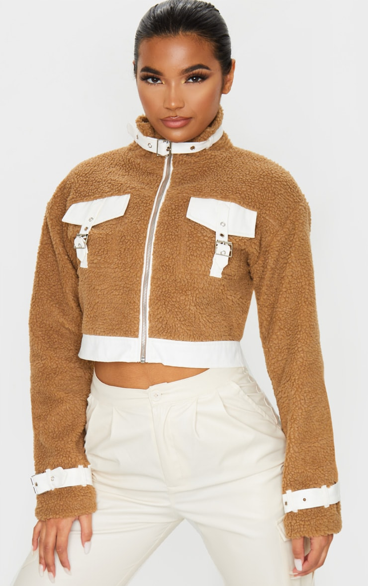 Camel Borg Contrast Trim Zip Through Jacket 1