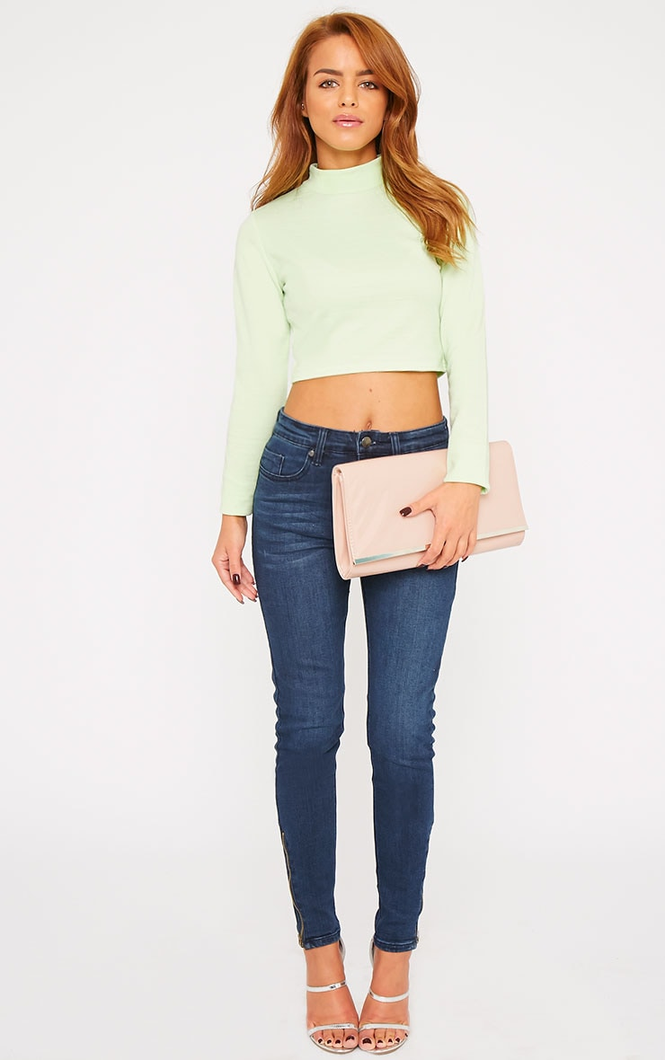 Basic Green Jersey Turtle Neck Crop Top 3