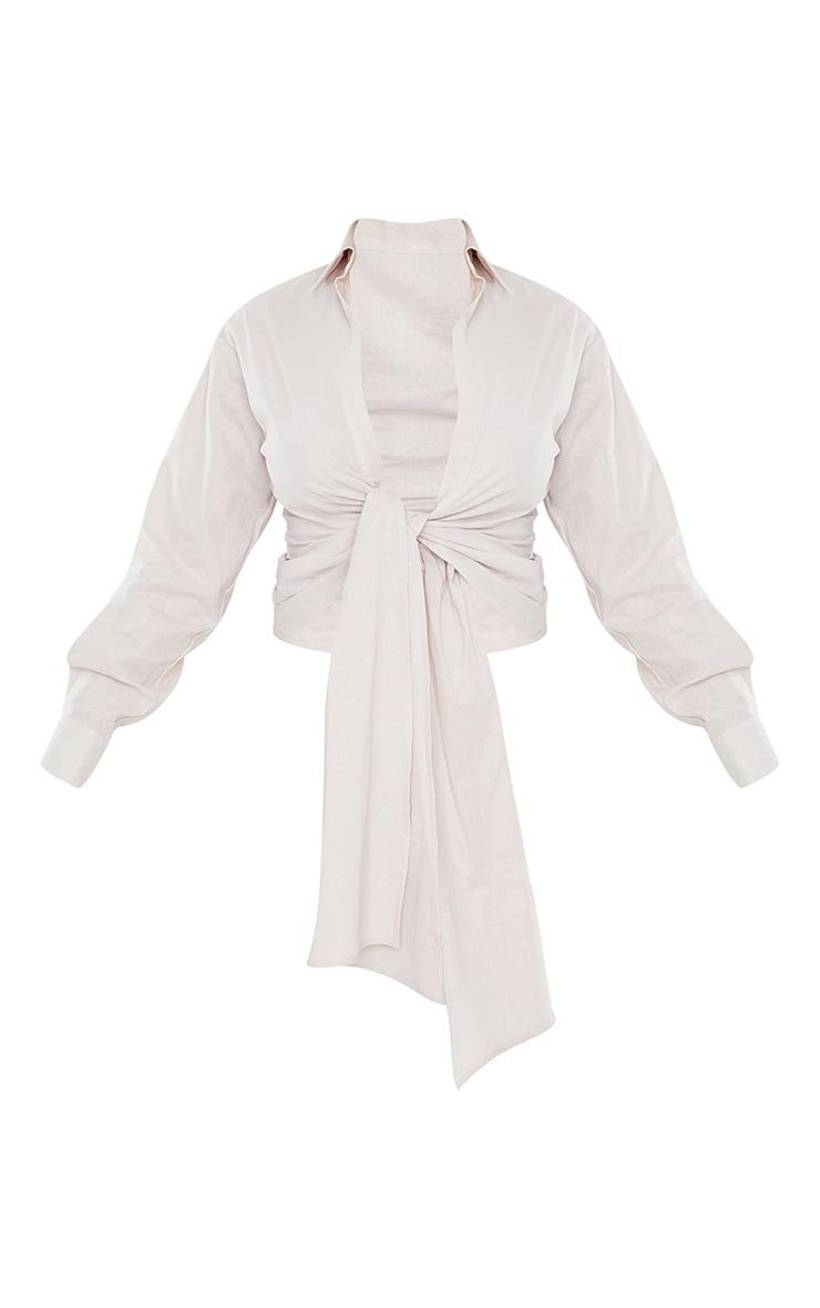 Cream Linen Ruched Tie Front Plunge Shirt 5