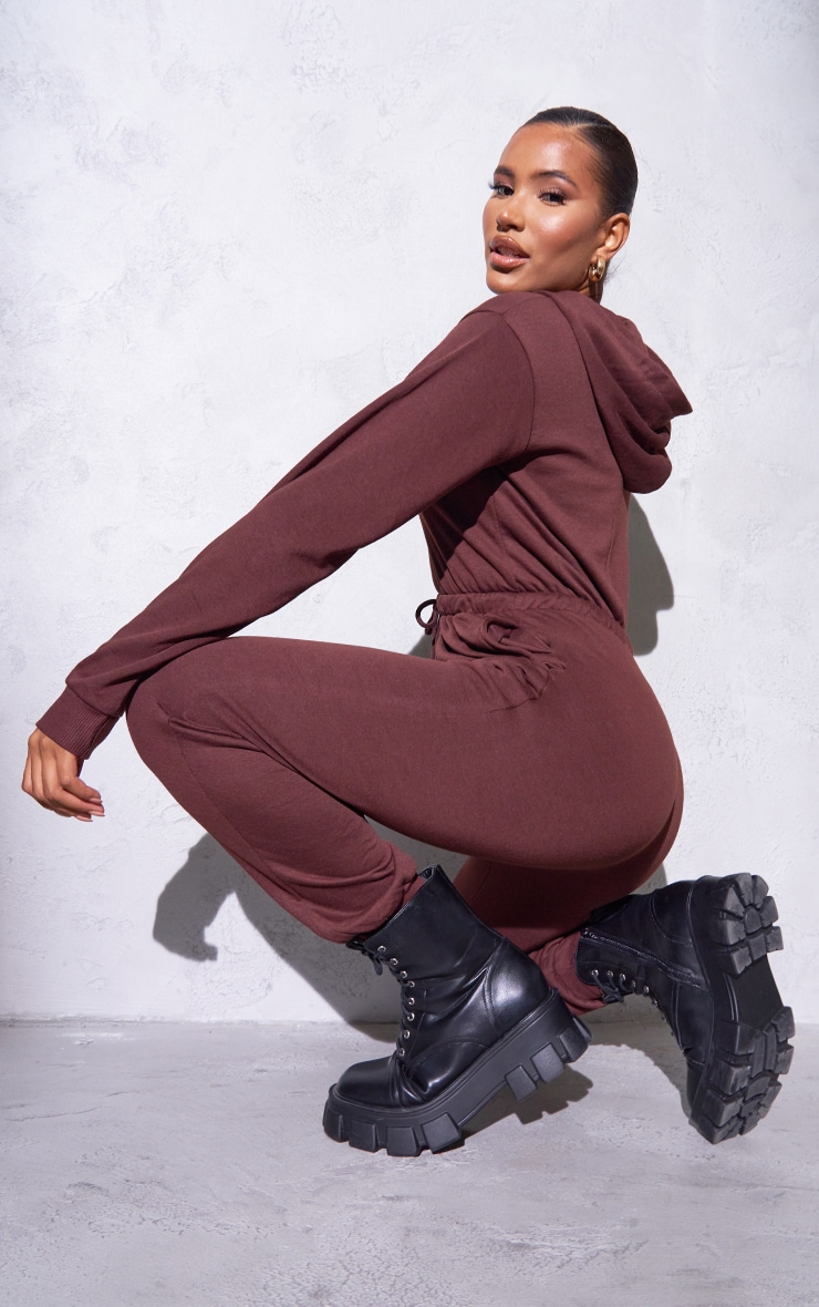 RENEW PRETTYLITTLETHING Chocolate Hooded Sweat Jumpsuit 2