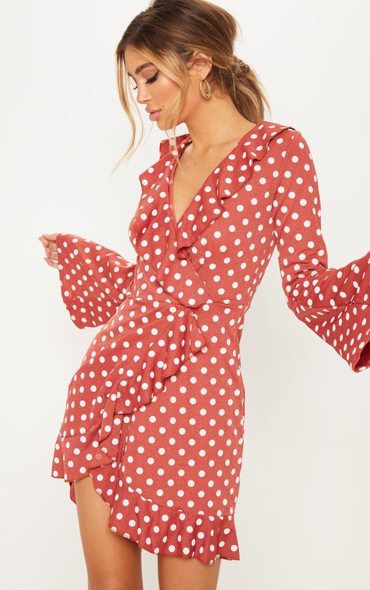 4daf88ffd49 Terracotta Polka Dot Frill Detail Flare Sleeve Wrap Dress image 1