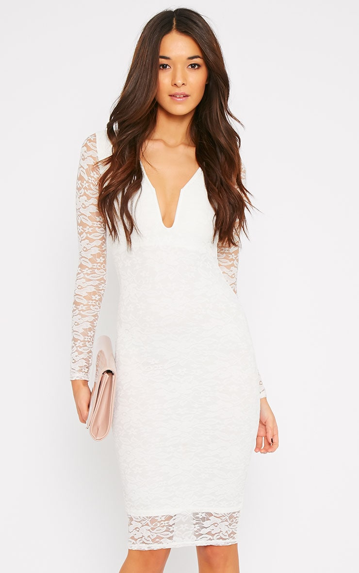 Macie Cream Lace Plunge Midi Dress  1