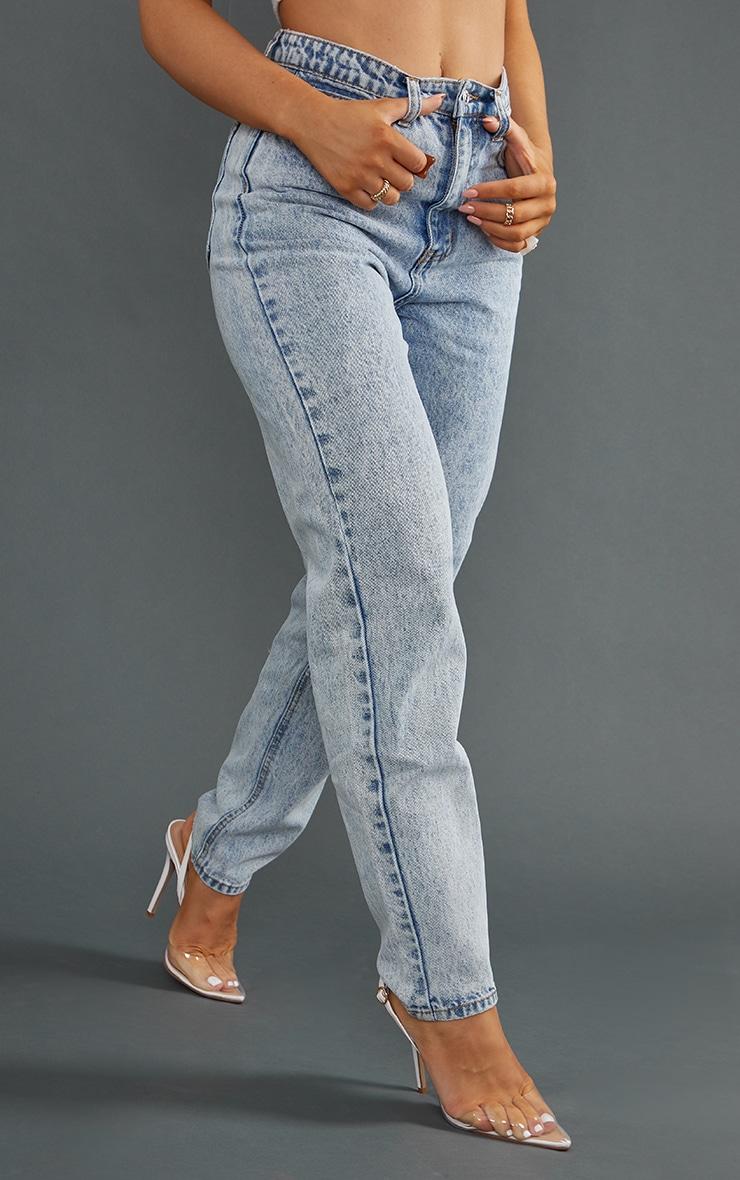 PRETTYLITTLETHING Acid Blue Mom Jeans 2