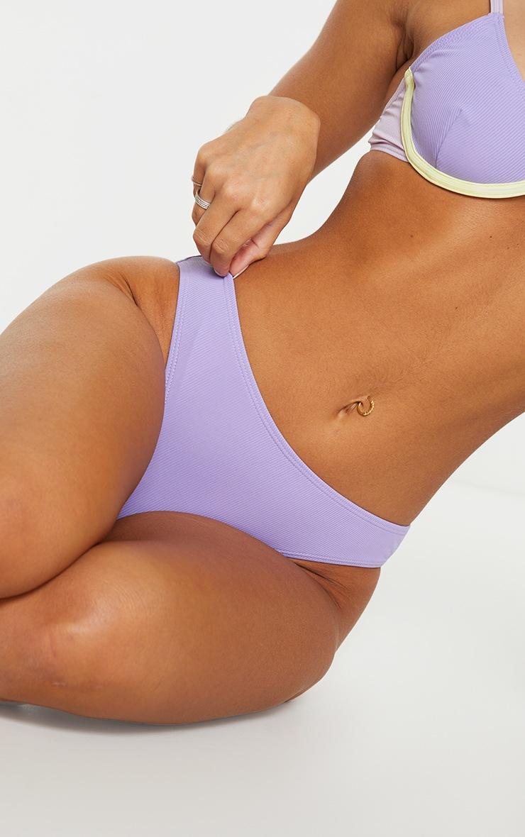 Purple Soft Ribbed Contrast High Leg Bikini Bottoms 4