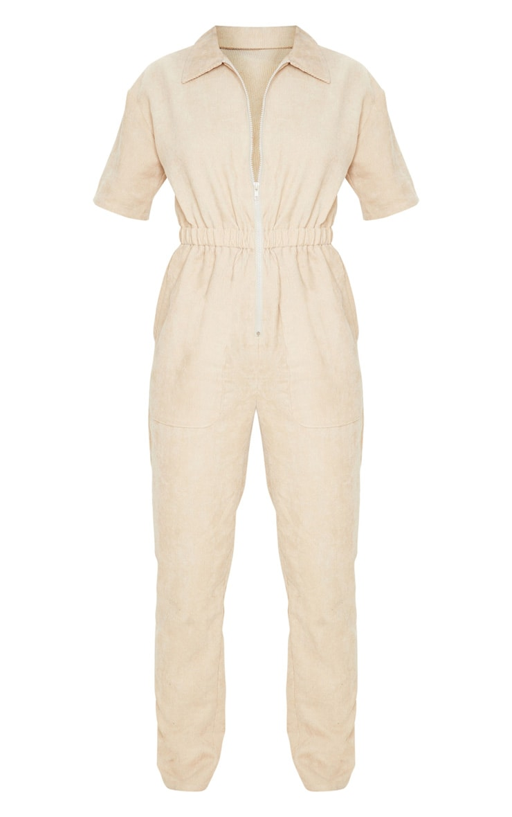 Stone Cord Zip Through Short Sleeve Jumpsuit 4