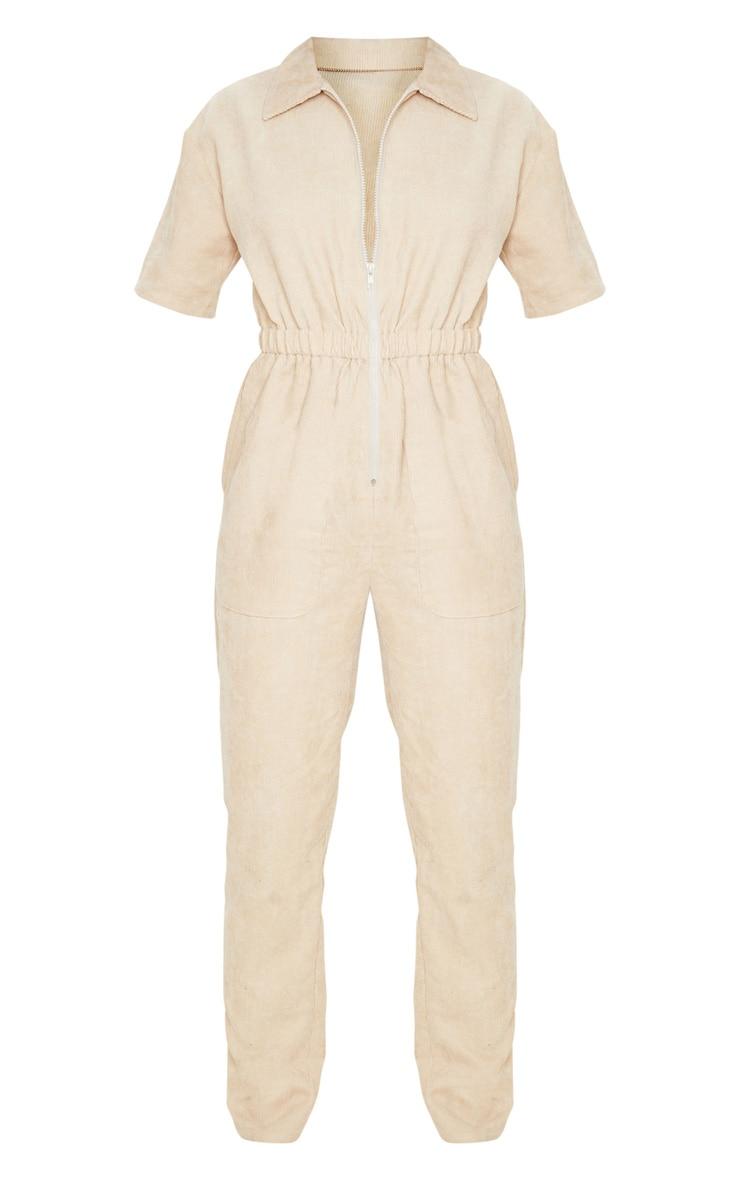 Stone Cord Zip Through Short Sleeve Jumpsuit 3