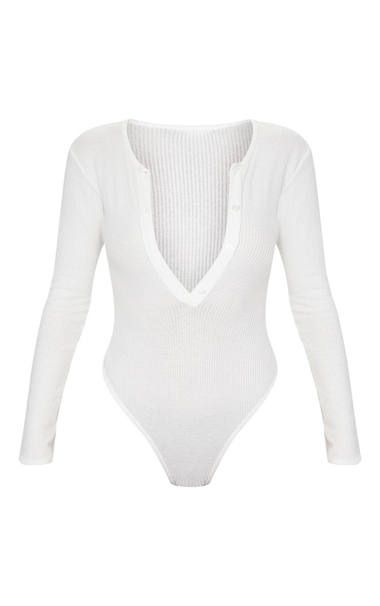 White Brushed Rib Button Long Sleeve Bodysuit 5