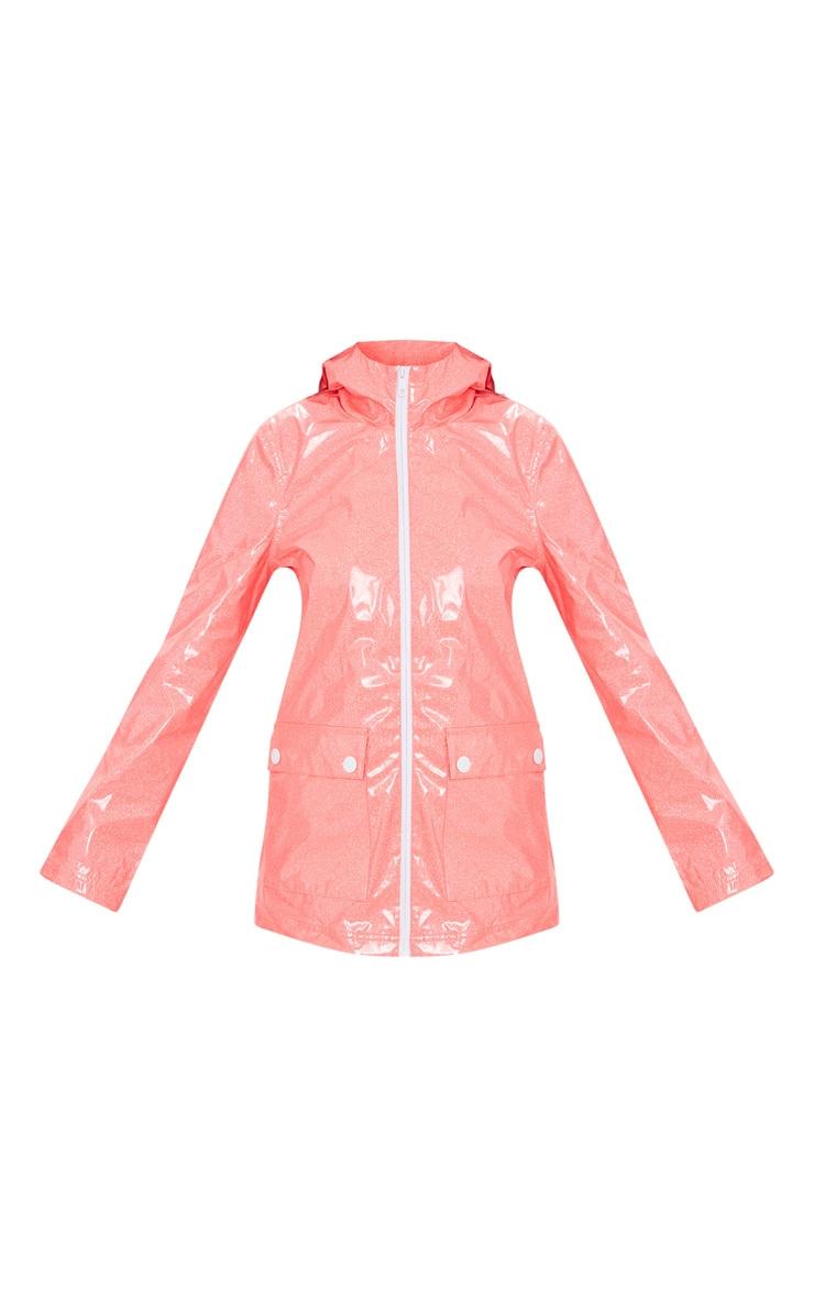 Pink Glitter Rain Mac  3