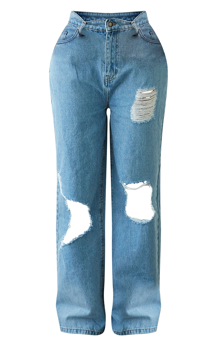 PRETTYLITTLETHING Shape Light Blue Wash High Waist Distressed Wide Leg Jeans 5