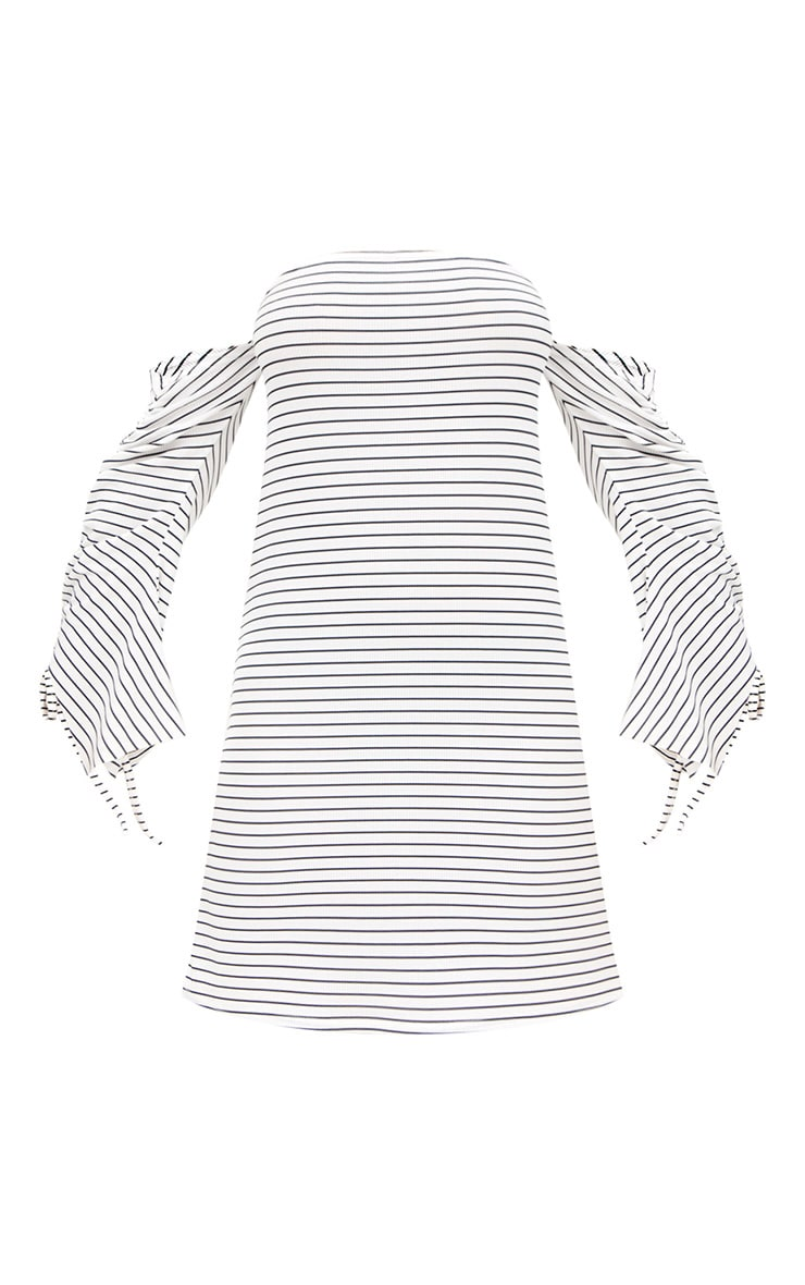 White Striped Ruched Sleeve Shift Dress 3