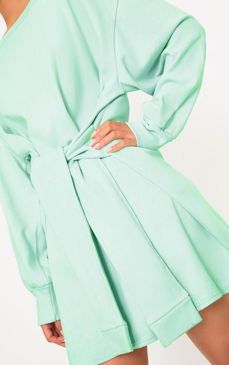 Kareena Mint Tie Waist Sweater Dress 4