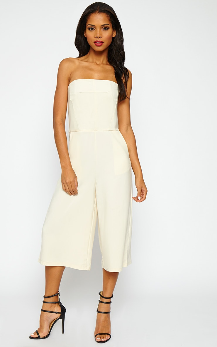 Ethelyn Cream Bandeau Culotte Jumpsuit 1