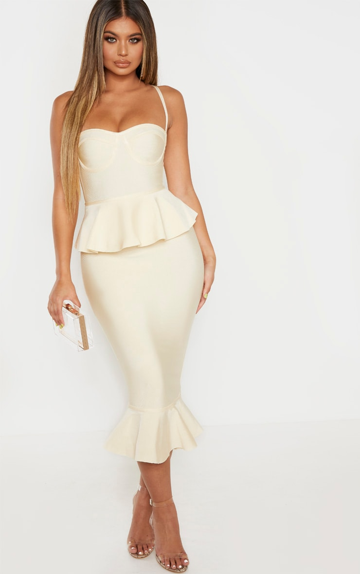 Cream Strappy Peplum Frill Hem Bandage Midi Dress 1