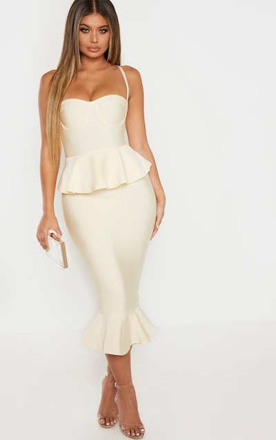 Cream Strappy Peplum Frill Hem Bandage Midi Dress