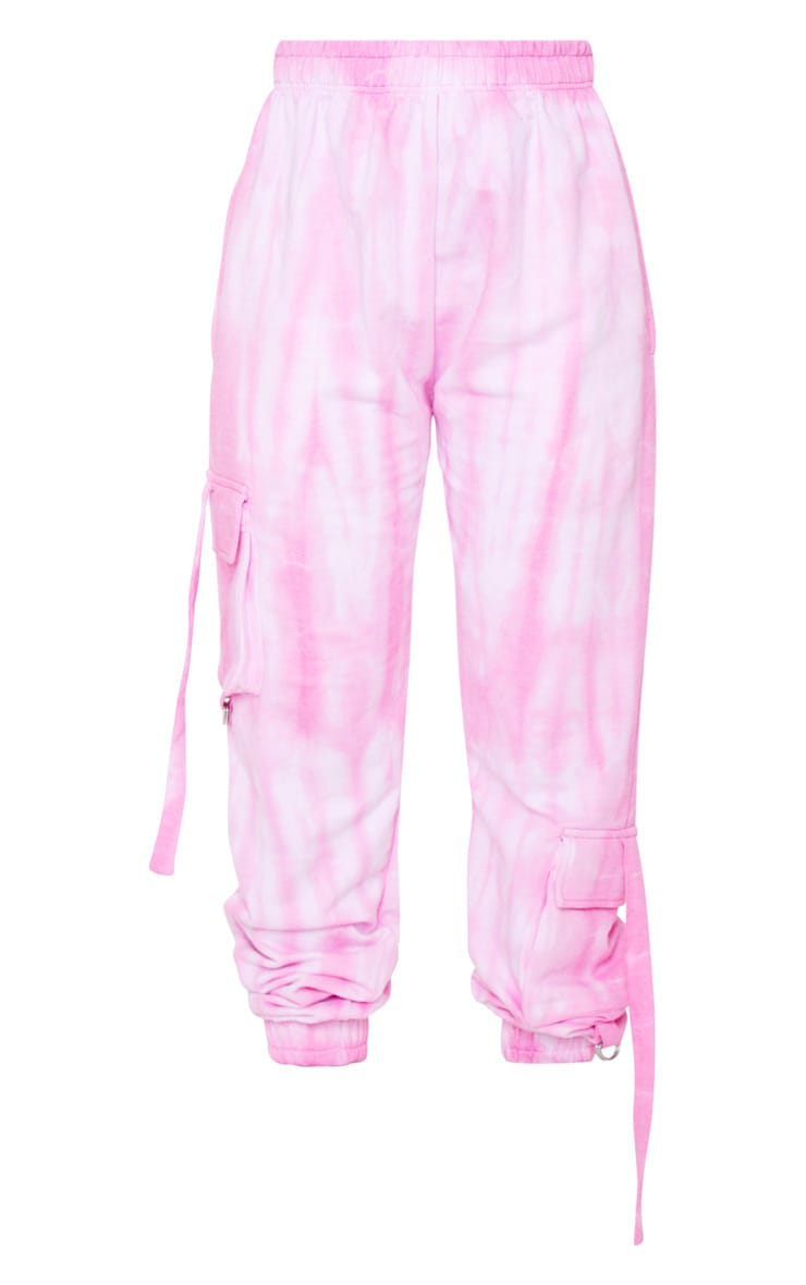 Petite Pink Cargo Tie Dye Joggers 5