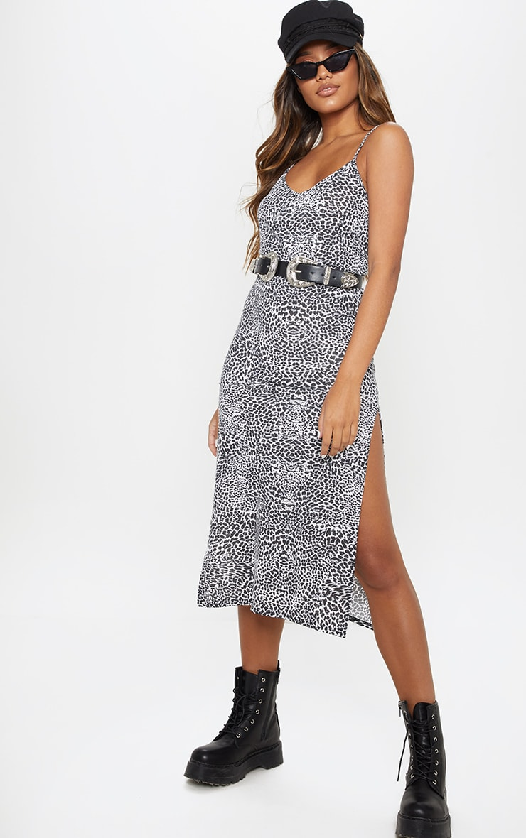 Black Leopard Print Jersey Split Cami Midi Dress 4