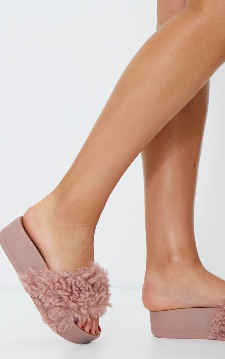 Pink Shaggy Faux Fur Platform Sliders 2
