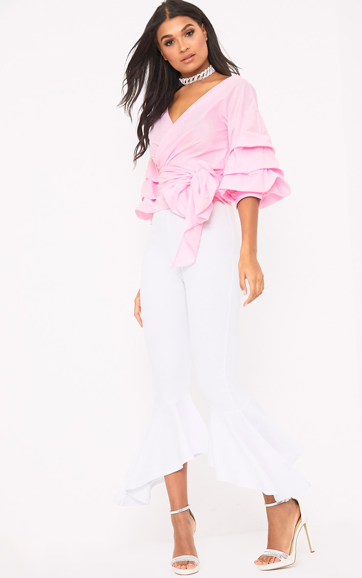 Marlow Baby Pink Oversized Ruffle Sleeve Low Shoulder Shirt 4