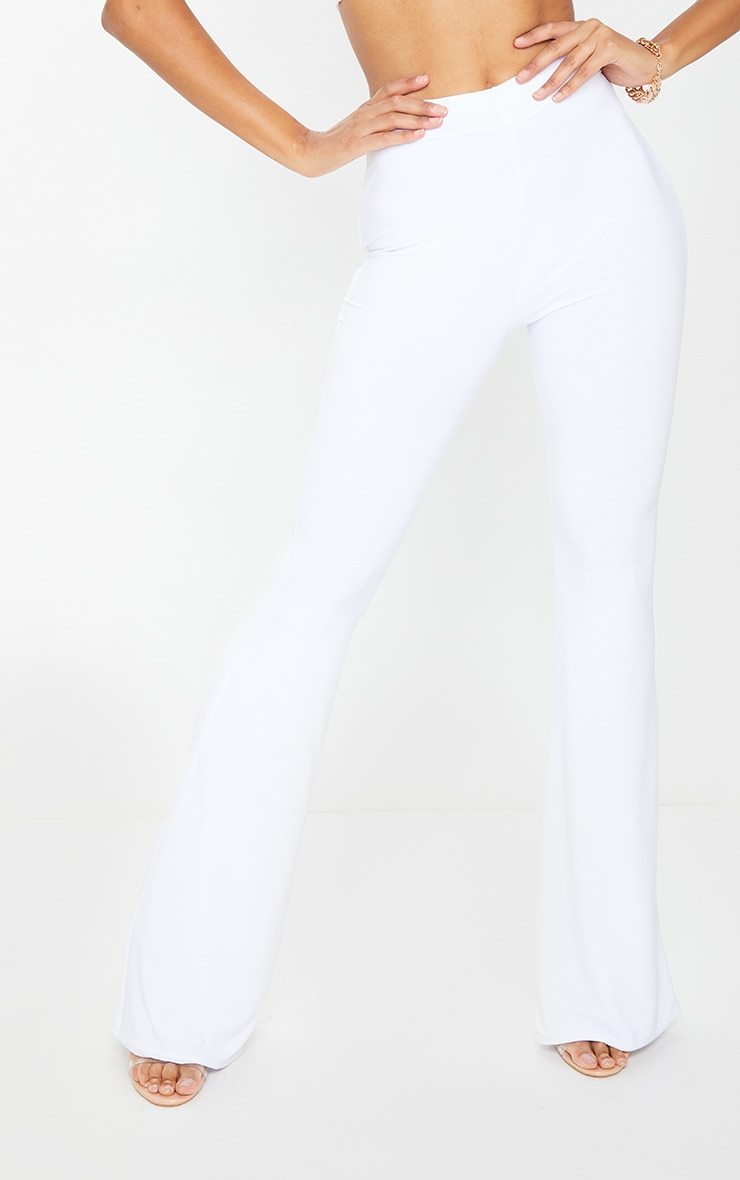 White Slinky Flared Pants 2