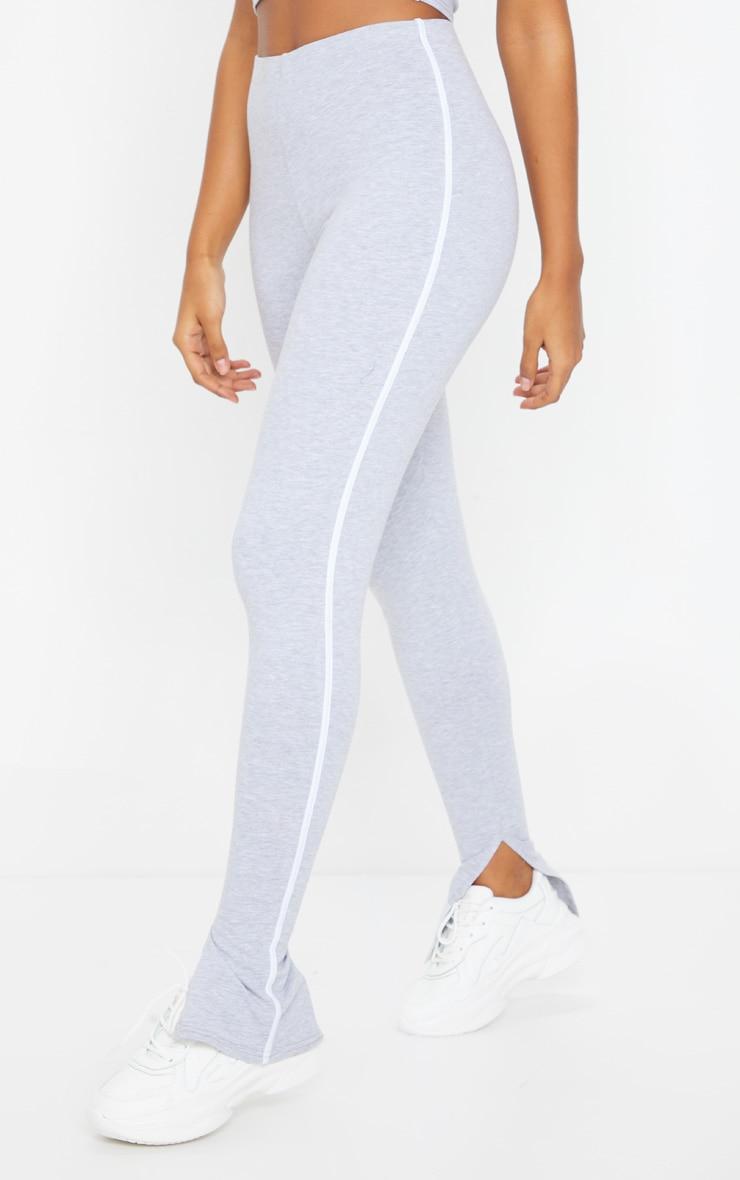 Grey Sports Stripe High Waisted Split Hem Pants 2