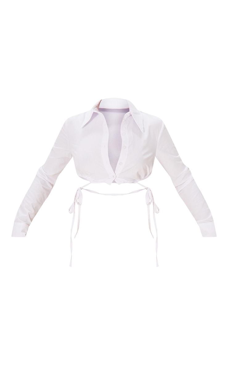 White Cotton Drawstring Side Crop Shirt 5