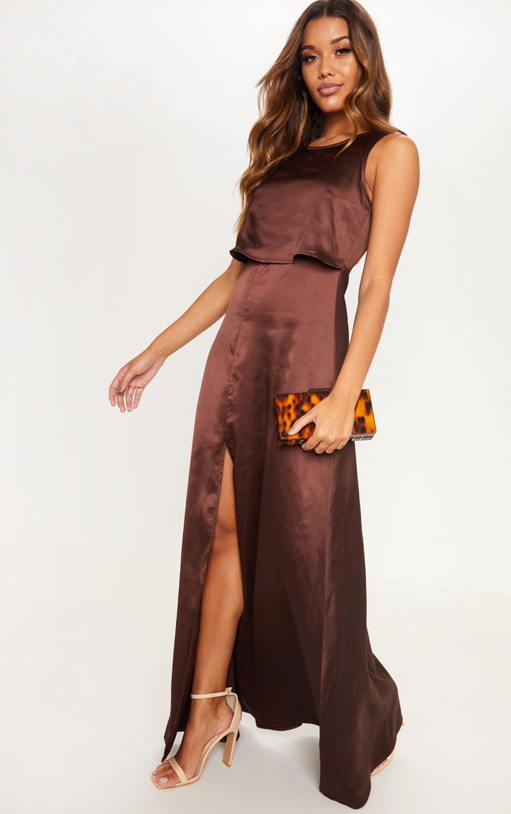 98914243ef09 Chocolate Brown Bonded Slinky Overlay Split Front Maxi Dress image 1