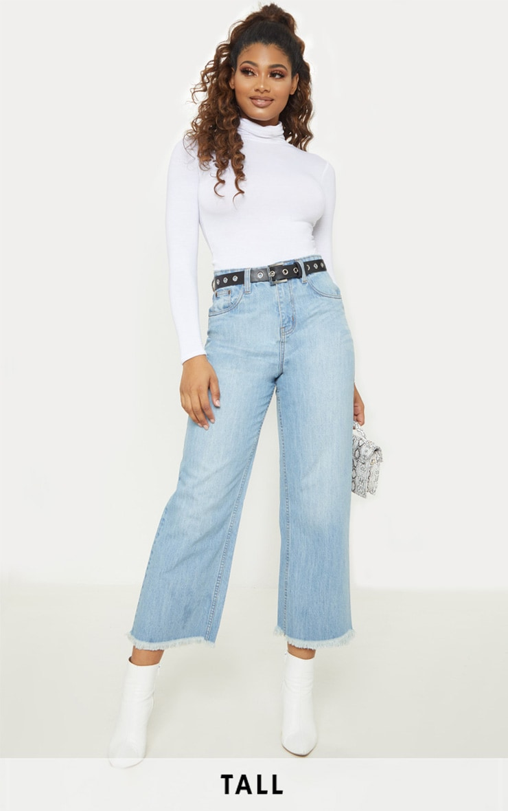 Tall Light Wash Cropped Wide Leg Jean 1