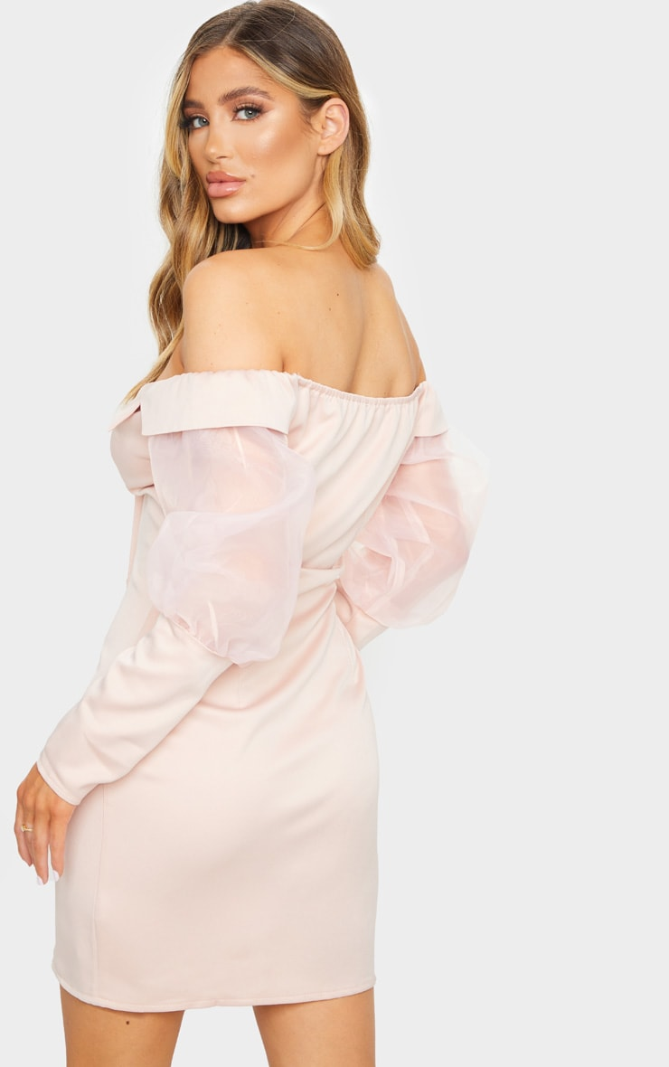 Blush Organza Bardot Sleeve Button Down Blazer Dress 2