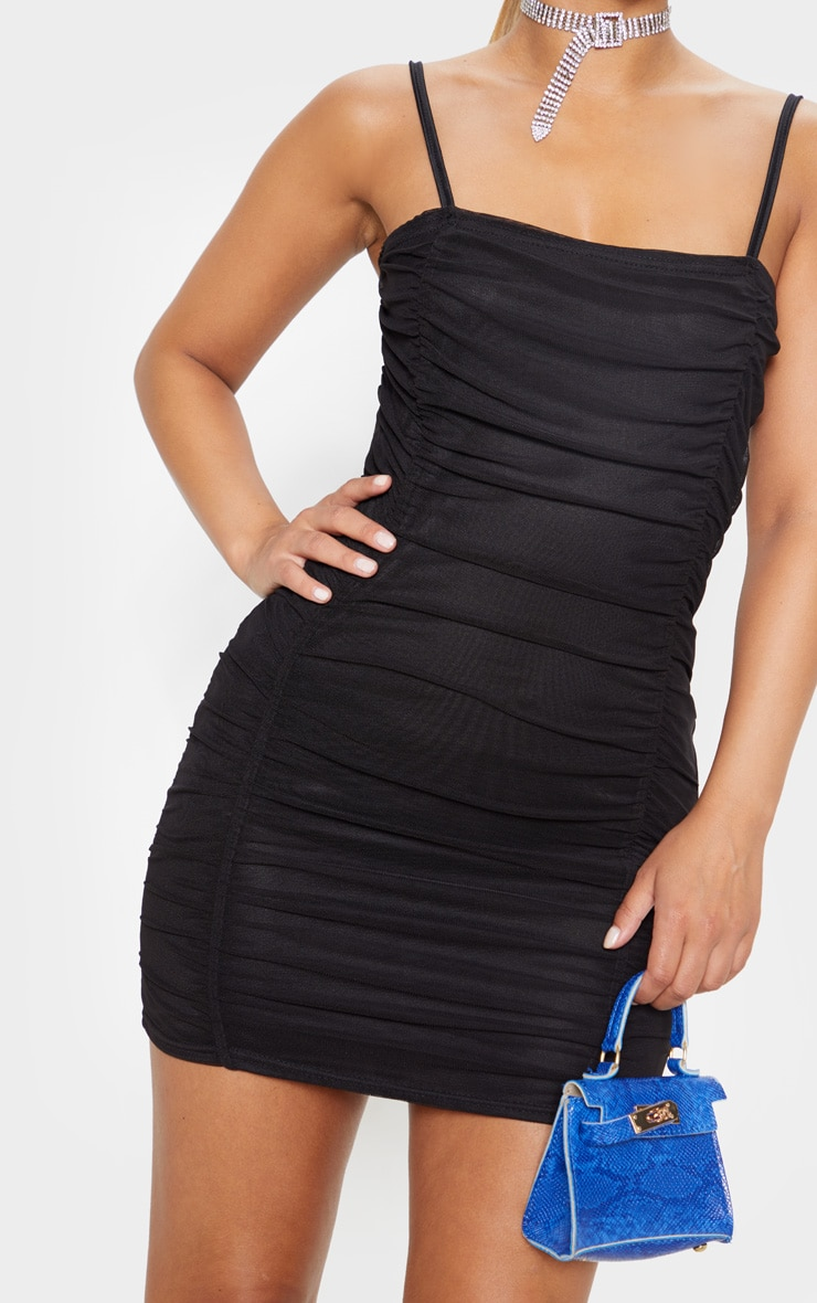 Petite Black Strappy Ruched Front Mini Dress  5