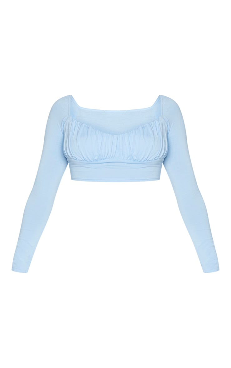 Baby Blue Jersey Long Sleeve Ruched Crop Top 5