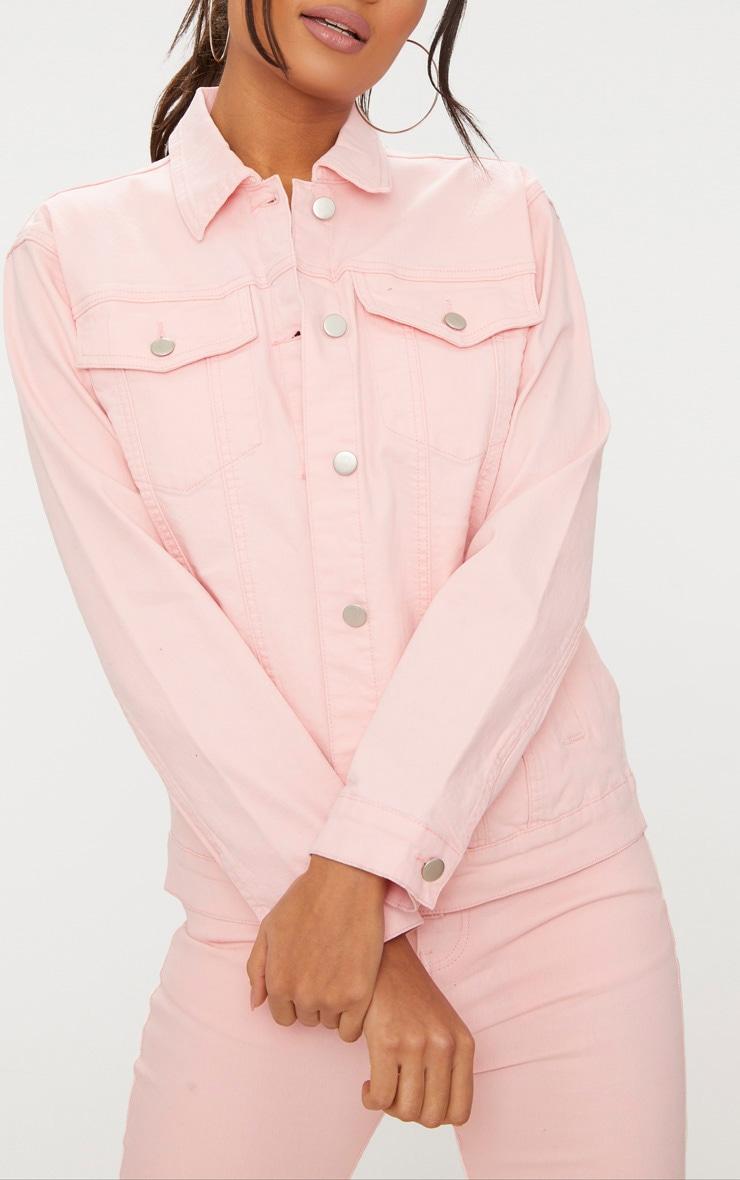 Baby Pink Distressed Boyfriend Fit Denim Jacket 5