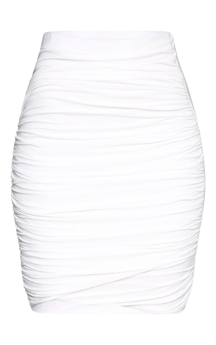 Cream Ruched Layered Slinky Mini Skirt 3