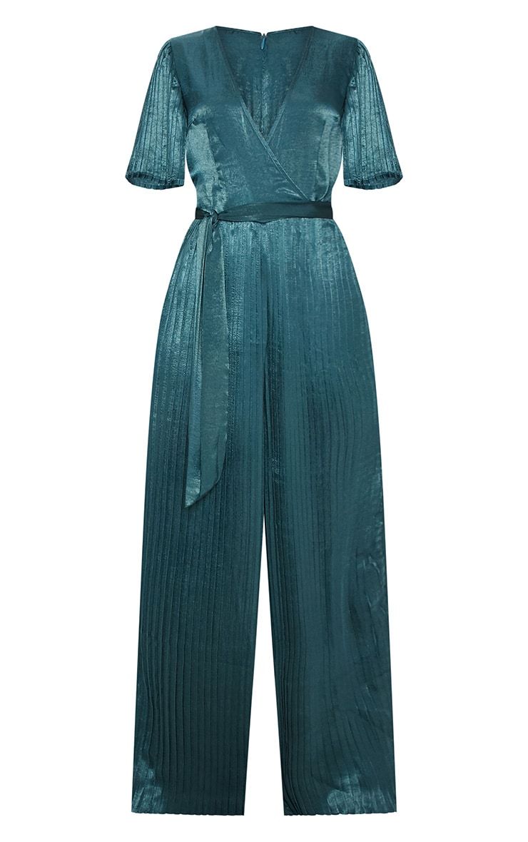 Emerald Green Satin Pleated Wide Leg Jumpsuit 3