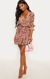 Dark Nude Floral Frill Detail Pleated Skater Dress 1